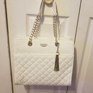 All White Guess Shoulder bag with Gold accents